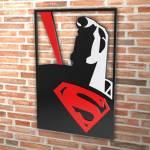 Quadro Superman Preto e Vermelho Vazado em MDF - 40x27 cm