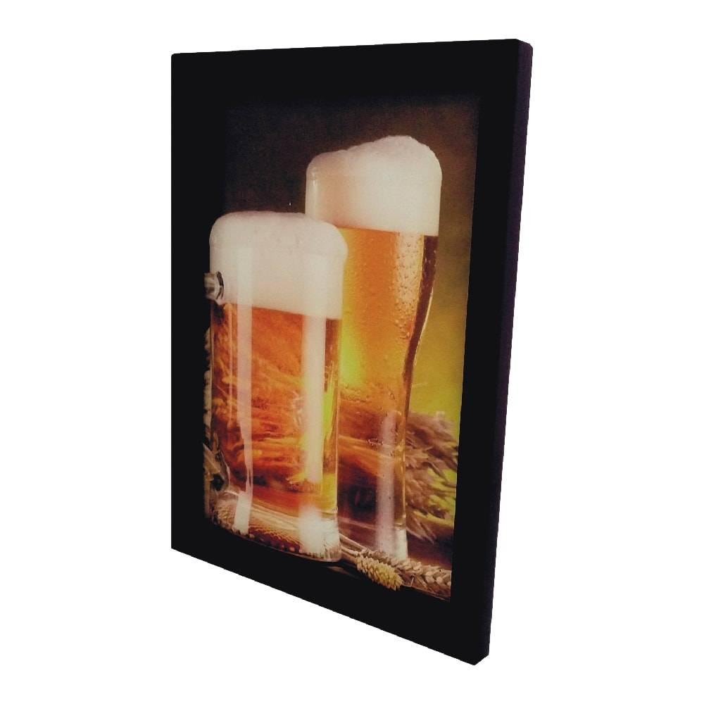 Quadro para Tampinhas Caneco e Copo de Cerveja Grande em MDF e Vidro - 44x33 cm