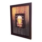Quadro Tampinhas Cerveja - c/ Impressão no Vidro - em MDF - 42x33 cm