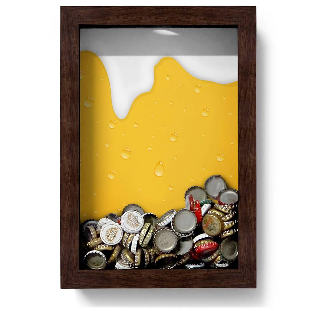 Quadro para Tampinhas Cerveja Escorrendo Amarelo em Madeira - 32x22 cm