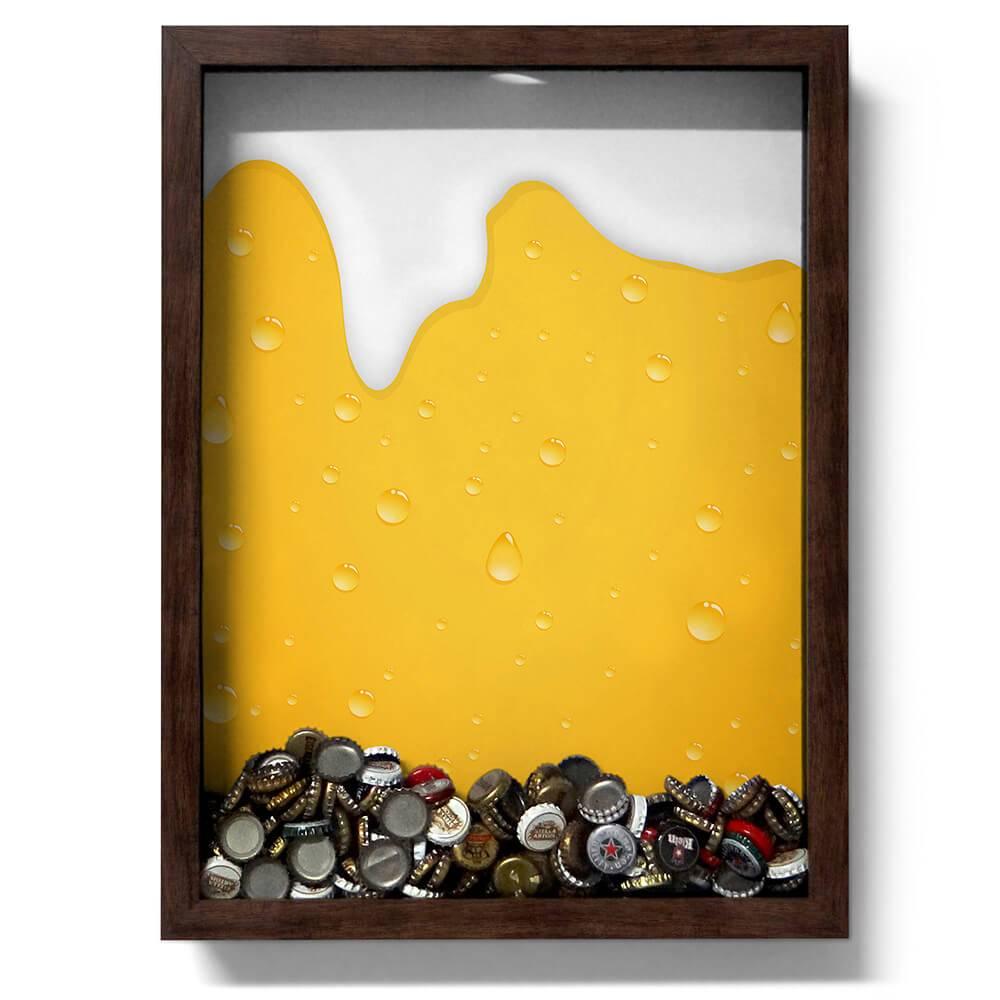 Quadro para Tampinhas Cerveja Escorrendo Amarelo em Madeira - 47x35 cm