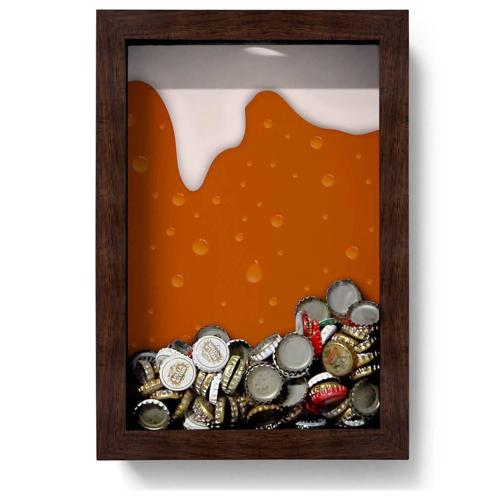 Quadro para Tampinhas Cerveja Escorrendo Fundo Laranja em Madeira - 32x22 cm