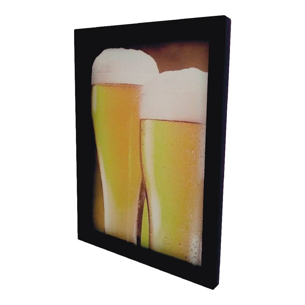 Quadro para Tampinhas Copos de Cerveja em MDF e Vidro - 44x33 cm