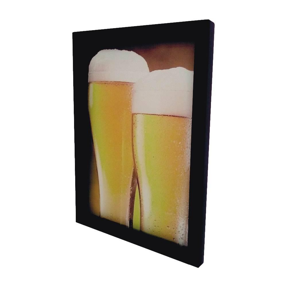 Quadro para Tampinhas Copos de Cerveja Pequeno em MDF e Vidro - 32,5x23 cm