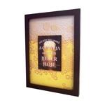 Quadro Tampinhas Espuma de Cerveja - c/ Impressão no Vidro - em MDF - 42x33 cm