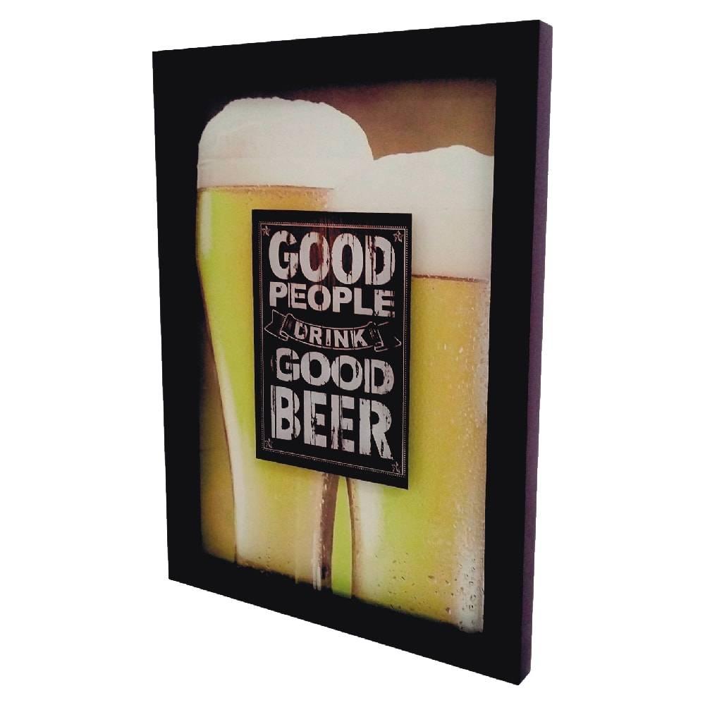 Quadro para Tampinhas Good Beer c/ Impressão Digital em Vidro e MDF - 44x33 cm