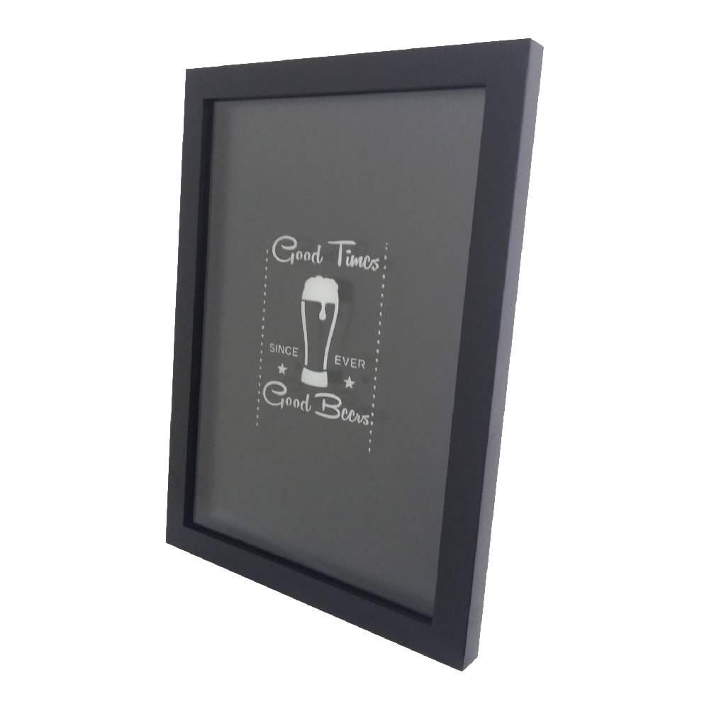 Quadro para Tampinhas Good Times Good Beer c/ Impressão Digital em Vidro e MDF - 44x33 cm