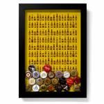 Quadro para Tampinhas Cervejas Fundo Amarelo em Madeira