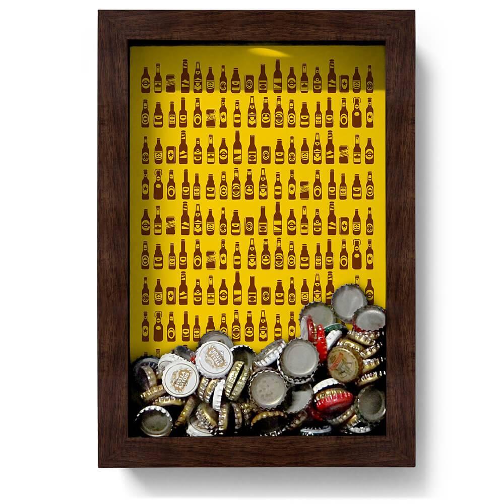 Quadro para Tampinhas Ilustração de Garrafas em Madeira - 32x22 cm