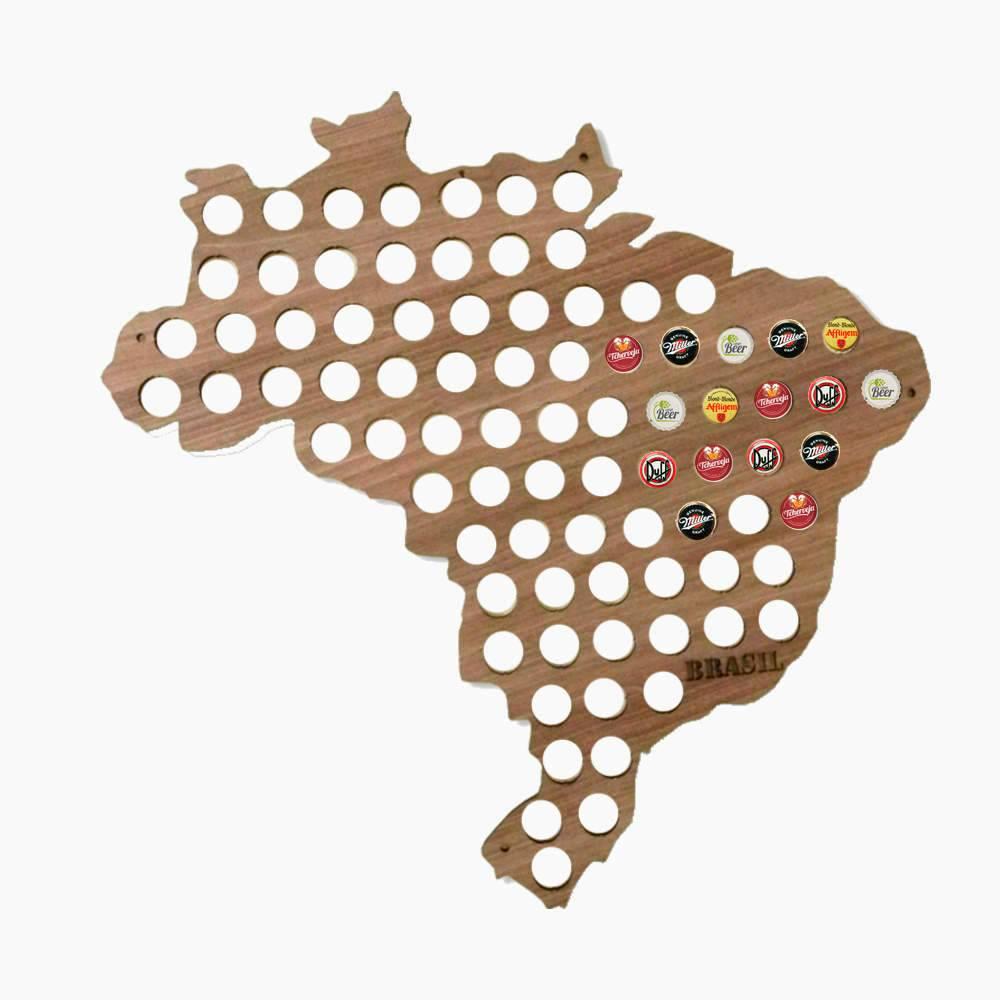 Quadro de Tampinhas Mapa do Brasil em MDF Laminado - 65x65cm