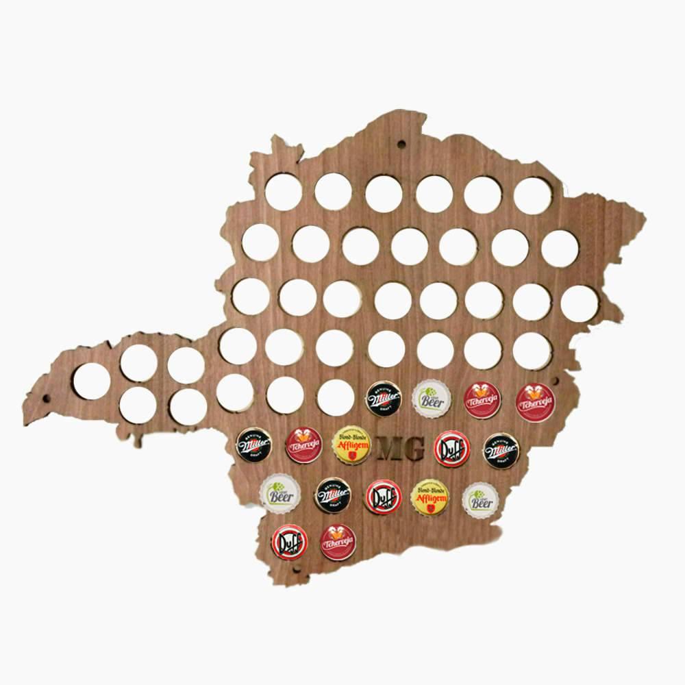 Quadro de Tampinhas Mapa de Minas Gerais em MDF Laminado - 50x48 cm