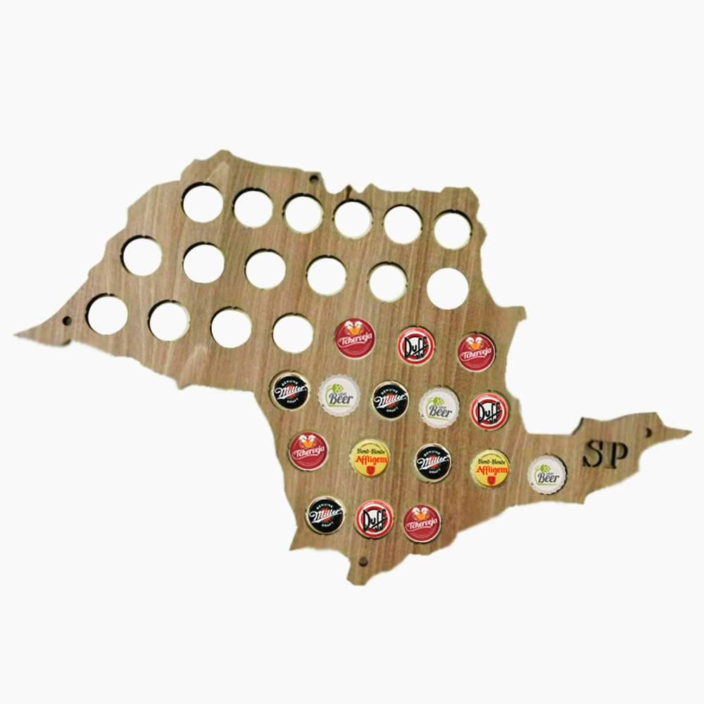 Quadro de Tampinhas Mapa de São Paulo em MDF Laminado - 50x35 cm