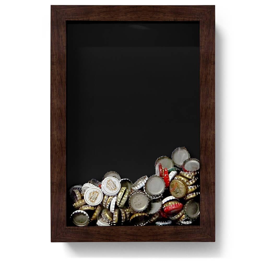 Quadro para Tampinhas Preto em Madeira - 32x22 cm