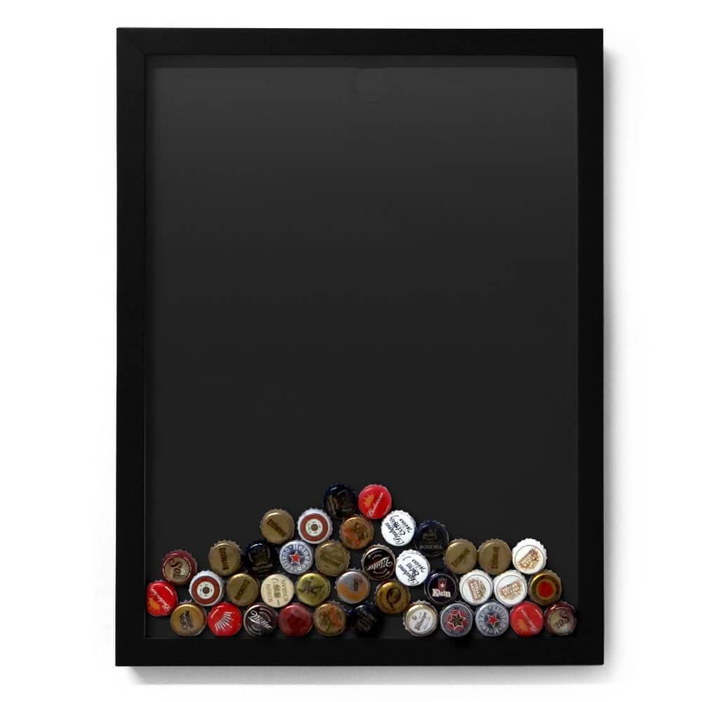 Quadro para Tampinhas Preto em Madeira - 49x37 cm