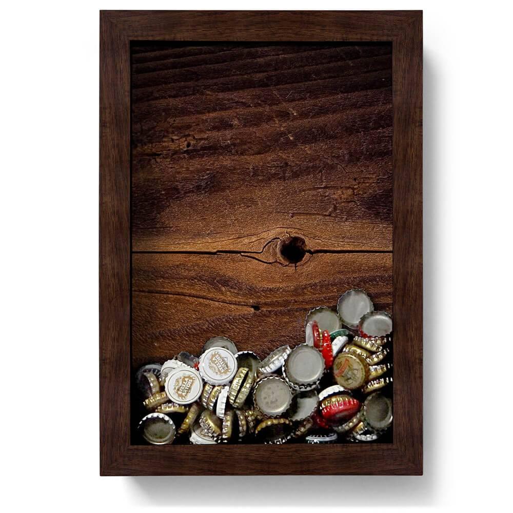 Quadro para Tampinhas Rústico em Madeira - 32x22 cm