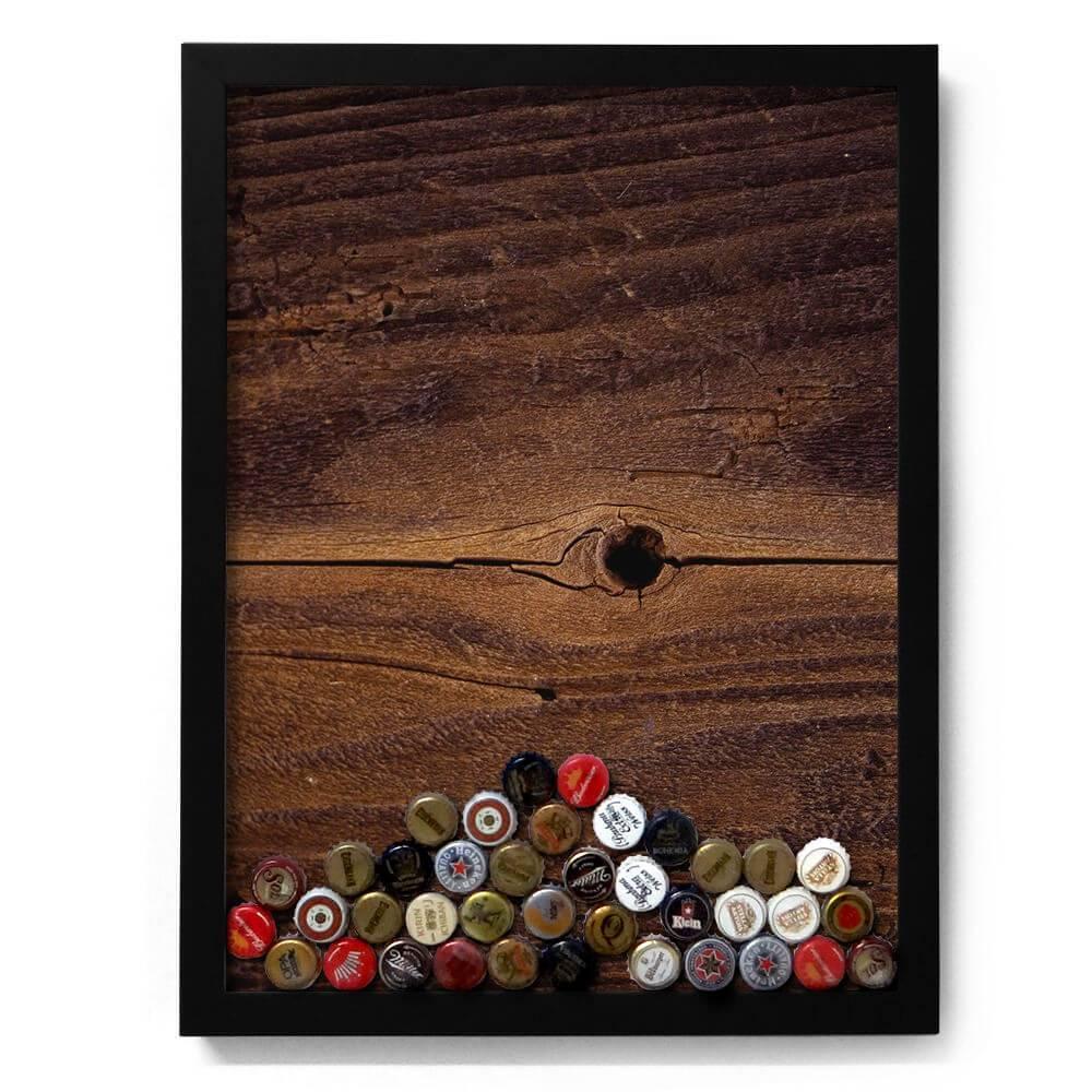 Quadro para Tampinhas Rústico em Madeira - 49x37 cm