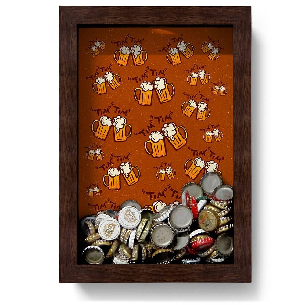 Quadro para Tampinhas Tim Tim em Madeira - 32x22 cm