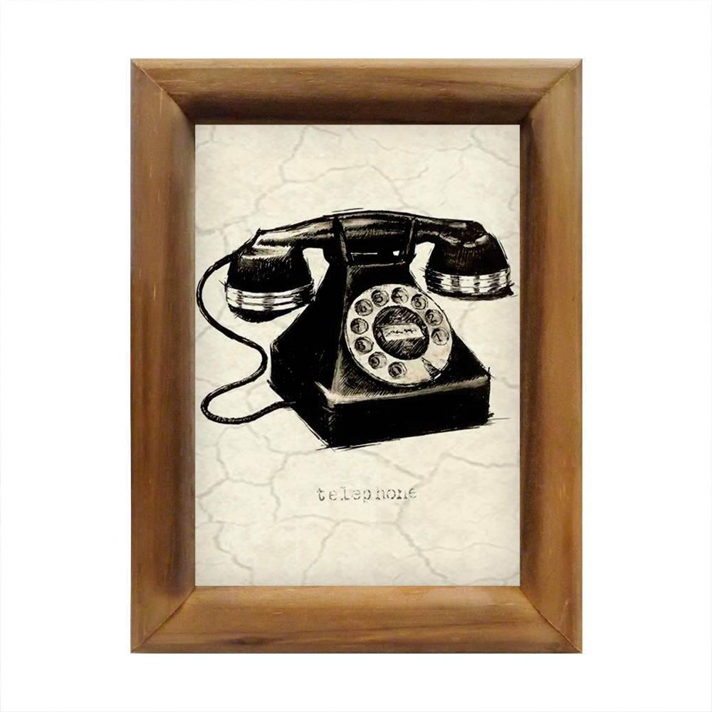 Quadro Telefone Preto e Branco em Madeira - 26x20 cm