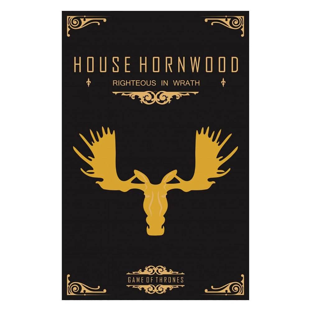 Quadro Temática House Hornwood Game Of Thrones Fundo Preto em MDF - 40x25,8 cm