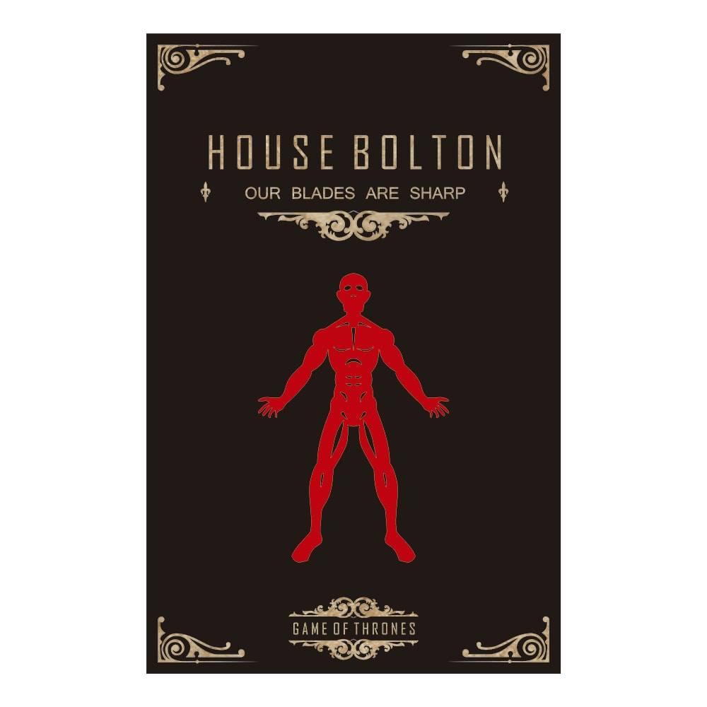 Quadro Temático House Bolton Game Of Thrones Preto em MDF - 40x25,8 cm