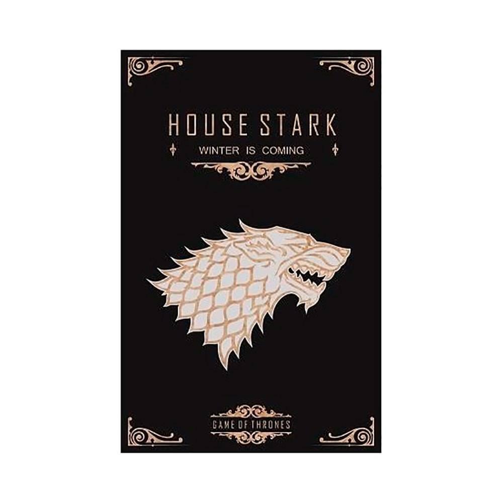 Quadro Temático House Stark Game Of Thrones Fundo Preto em MDF - 40x25,8 cm