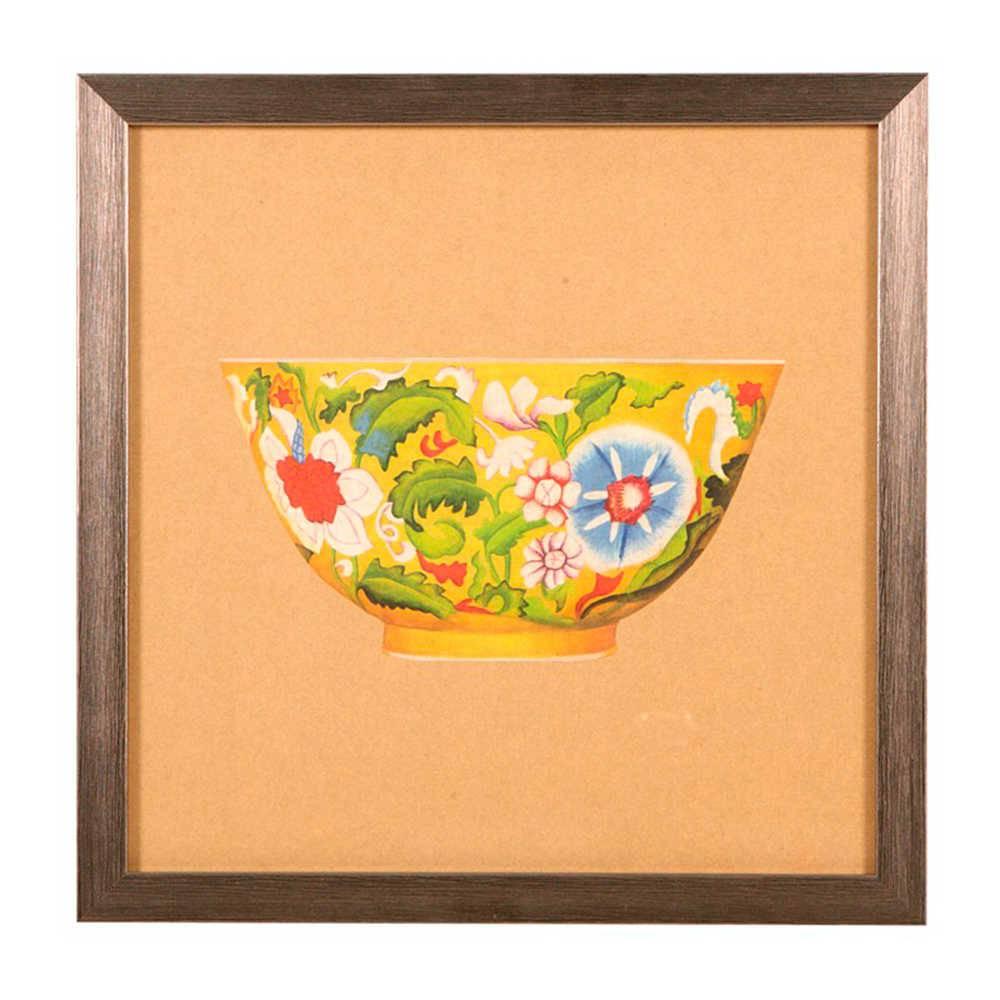 Quadro Tigela de Porcelana Amarela Florida em Madeira - 33x33 cm