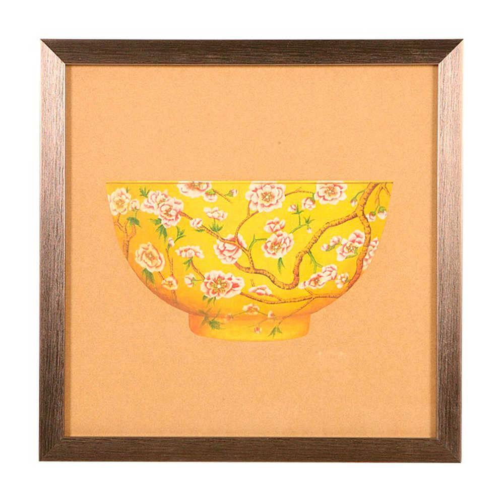 Quadro Tigela de Porcelana Amarela com Ramos de Flores em Madeira - 33x33 cm