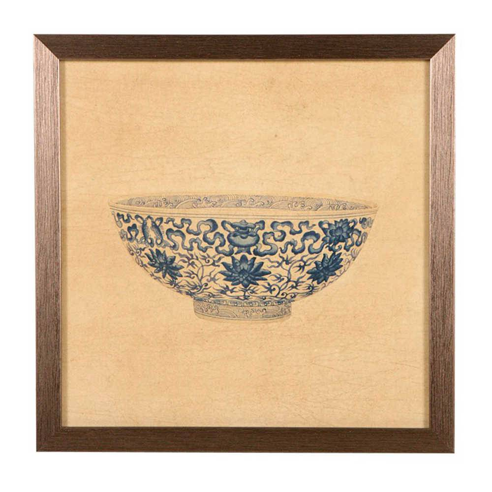 Quadro Tigela de Porcelana Azul e Bege em Madeira - 33x33 cm