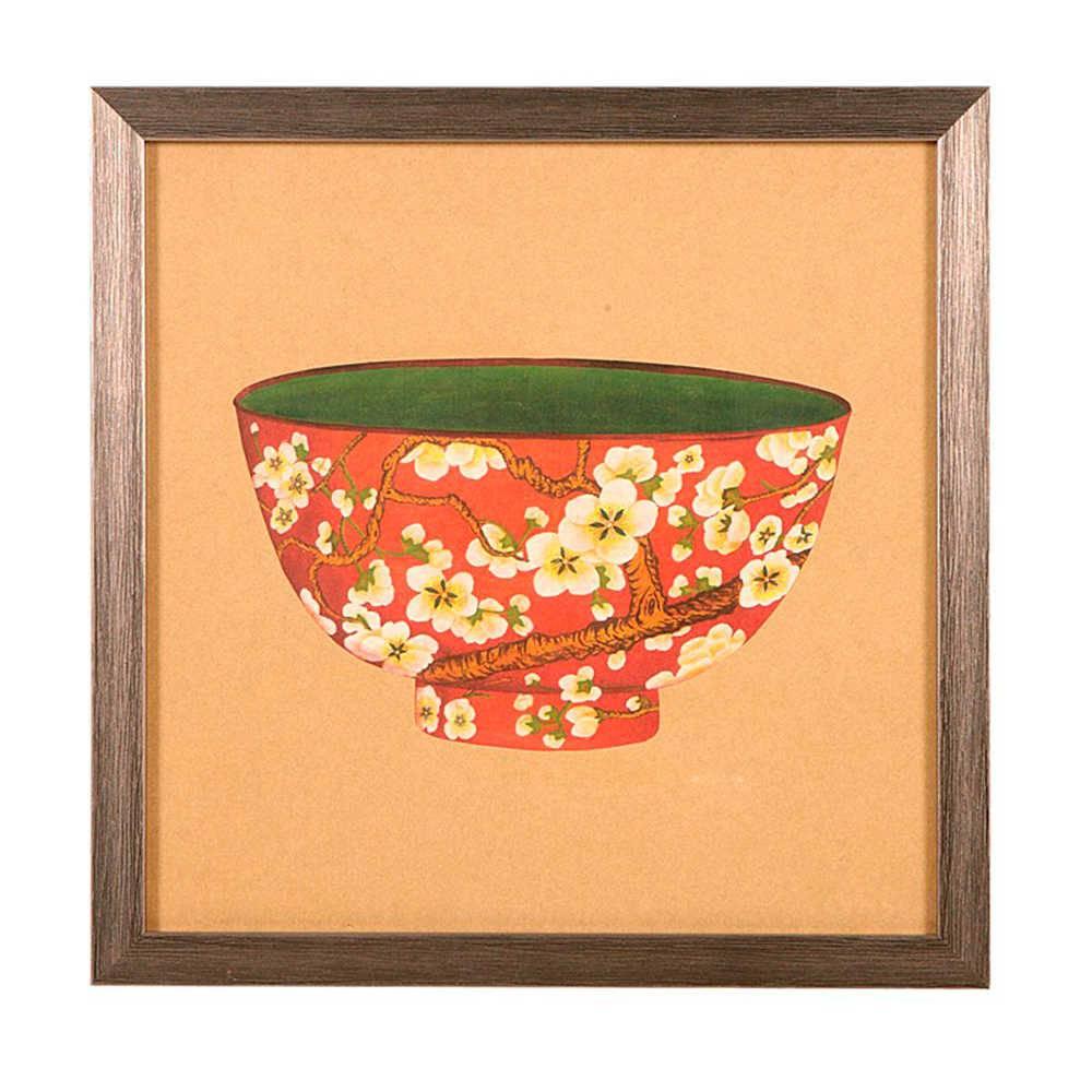 Quadro Tigela de Porcelana Vermelha com Flores Amarelas em Madeira - 33x33 cm