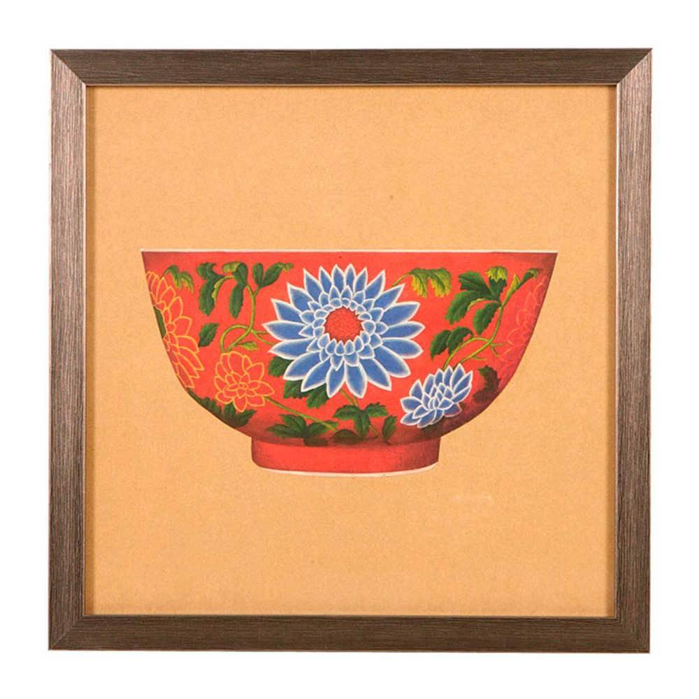 Quadro Tigela de Porcelana Vermelha com Flores Azuis em Madeira - 33x33 cm