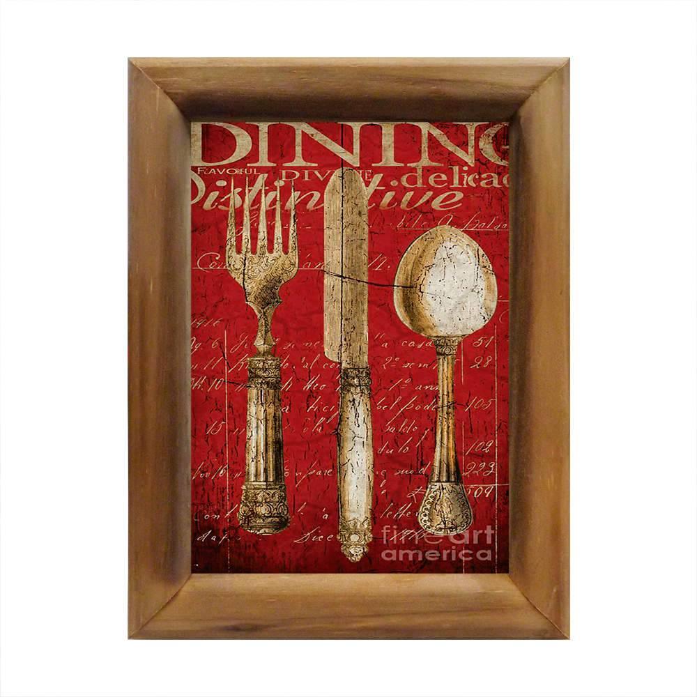 Quadro Tralheres Dourados Fine Art Fundo Vermelho em Madeira - 26x20 cm