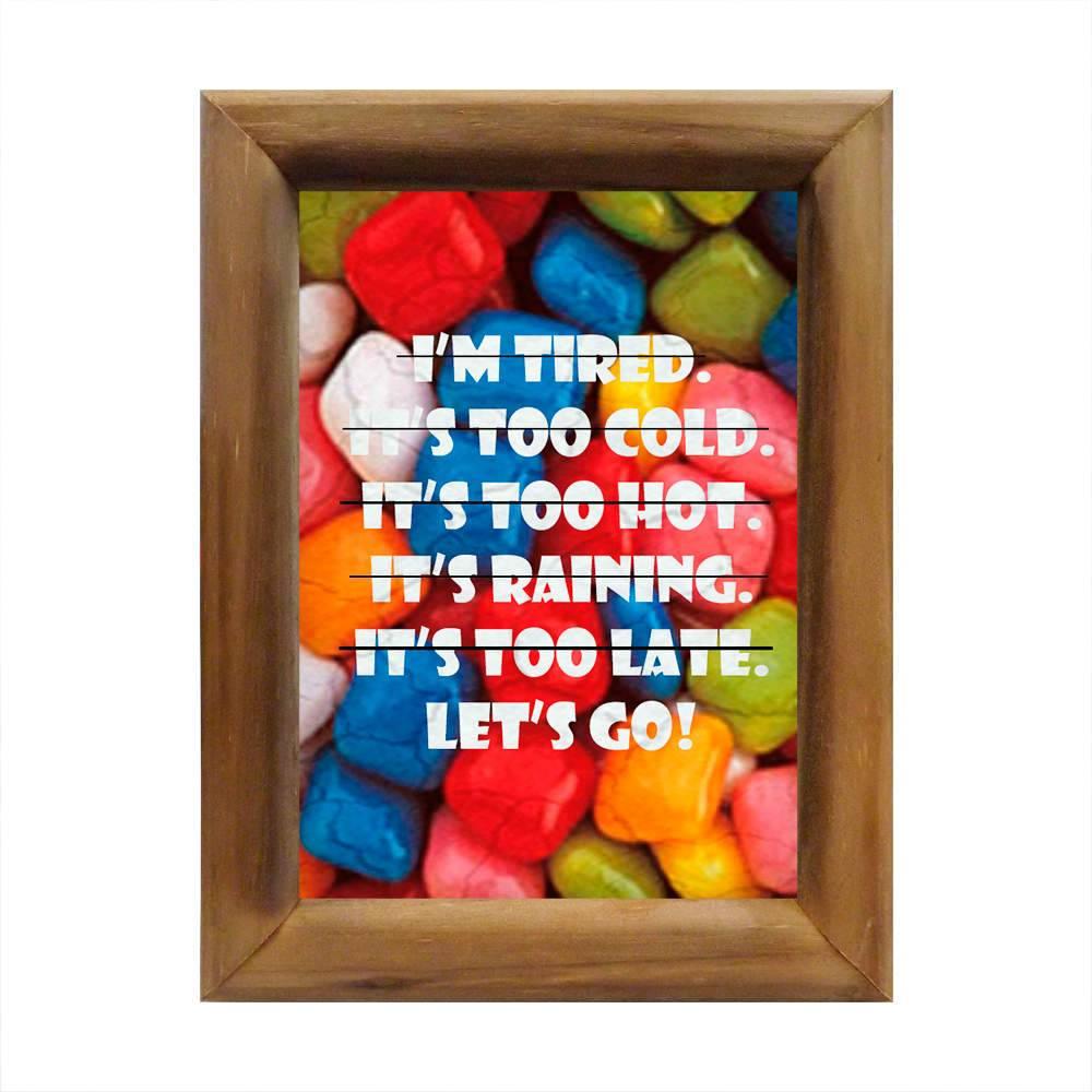 Quadro Vamos Lá! Multicolorido em Madeira - 26x20 cm