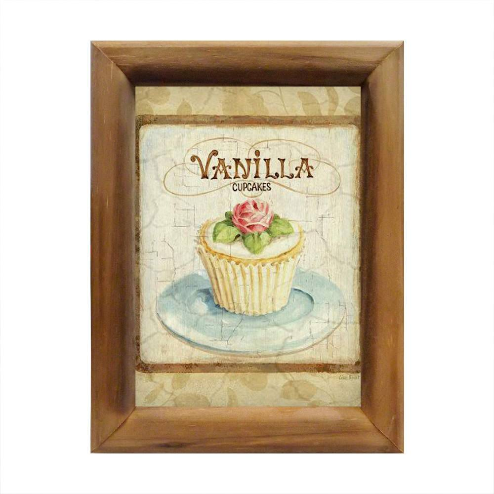 Quadro Vanilla Cupcakes Bege em Madeira - 26x20 cm