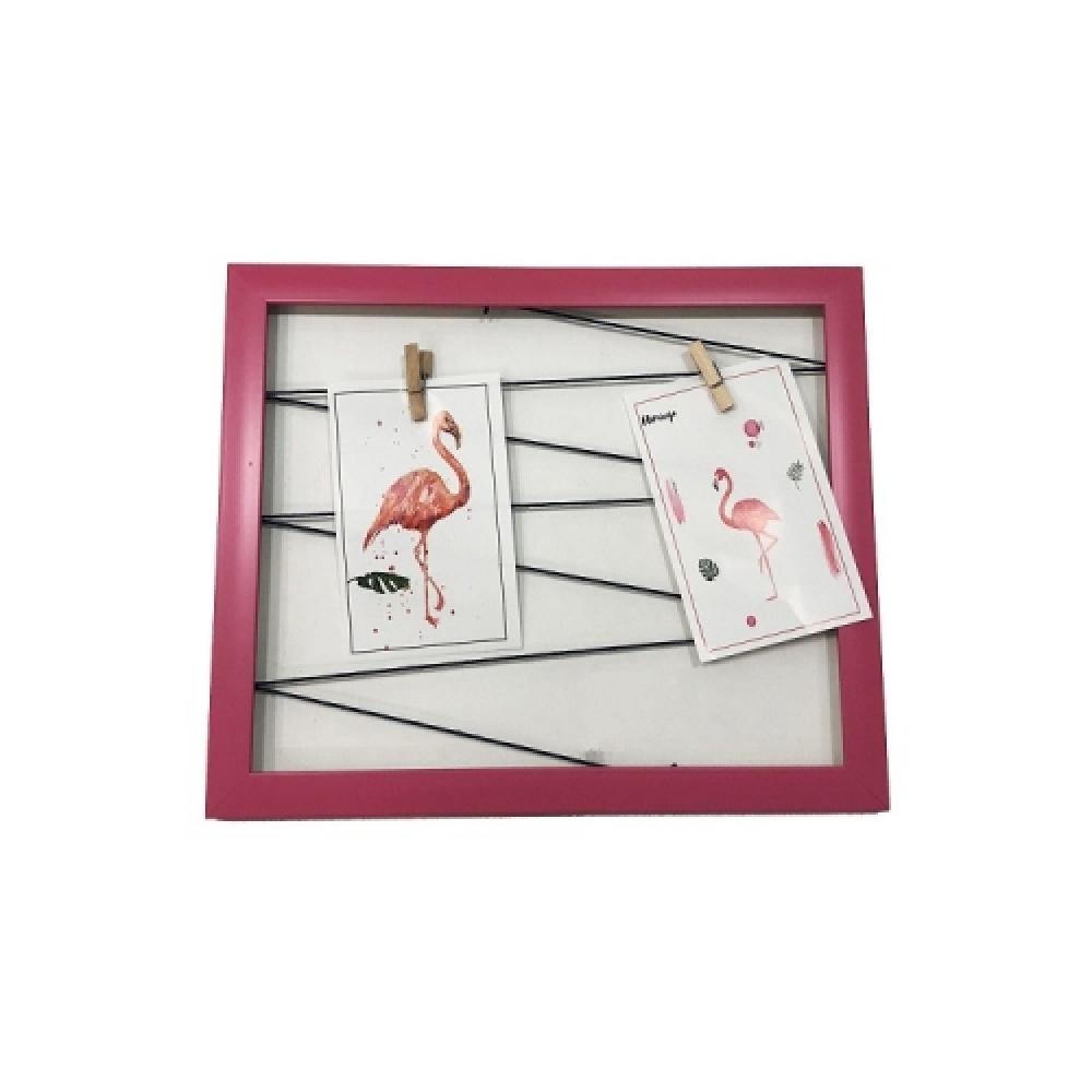 Quadro varal rosa 40x40