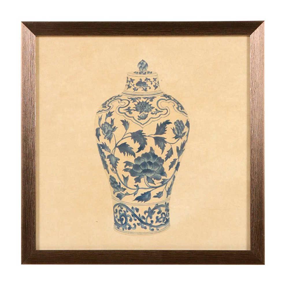 Quadro Vaso Decorativo Flores Azuis em Madeira - 33x33 cm