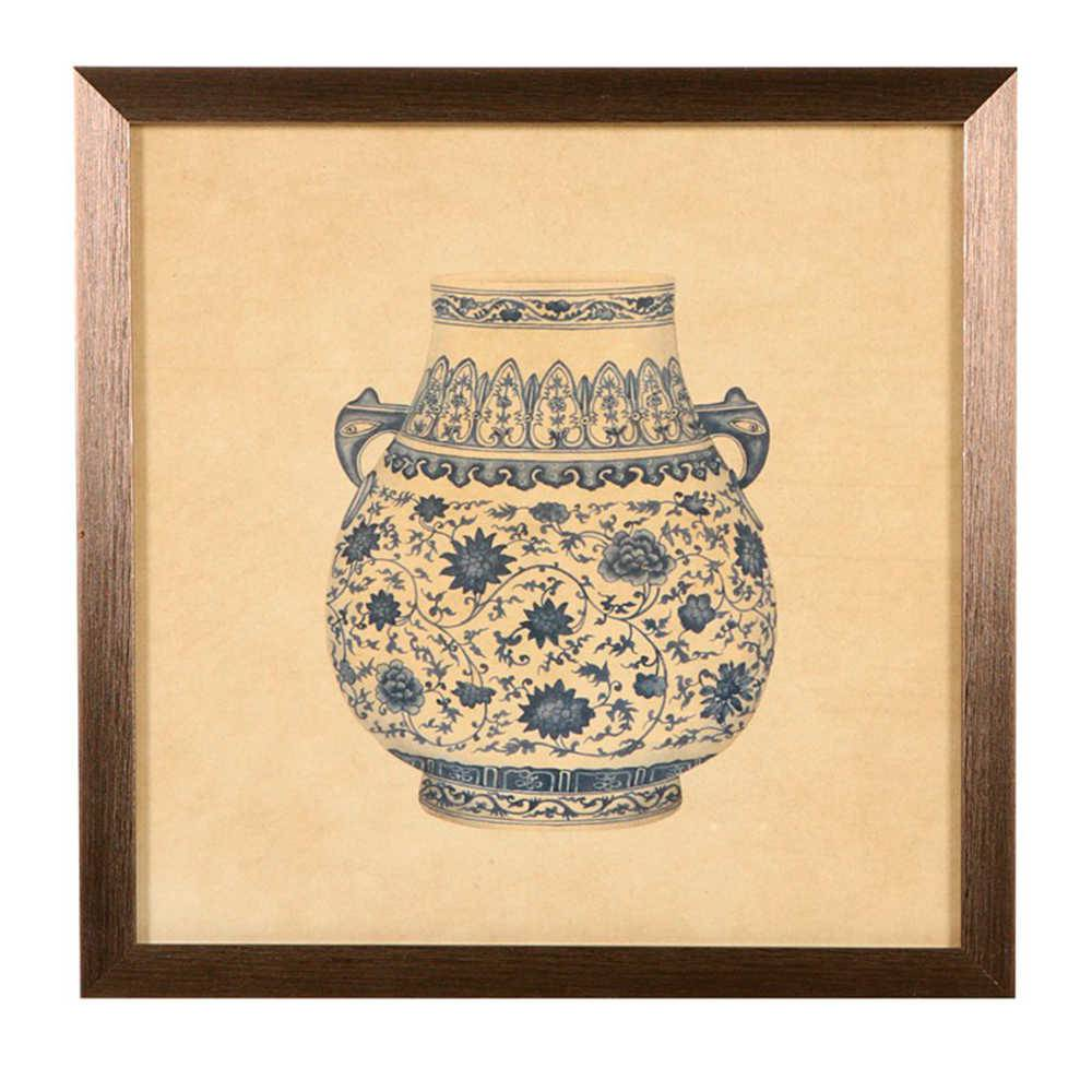 Quadro Vaso Decorativo Redondo de Porcelana em Madeira - 33x33 cm