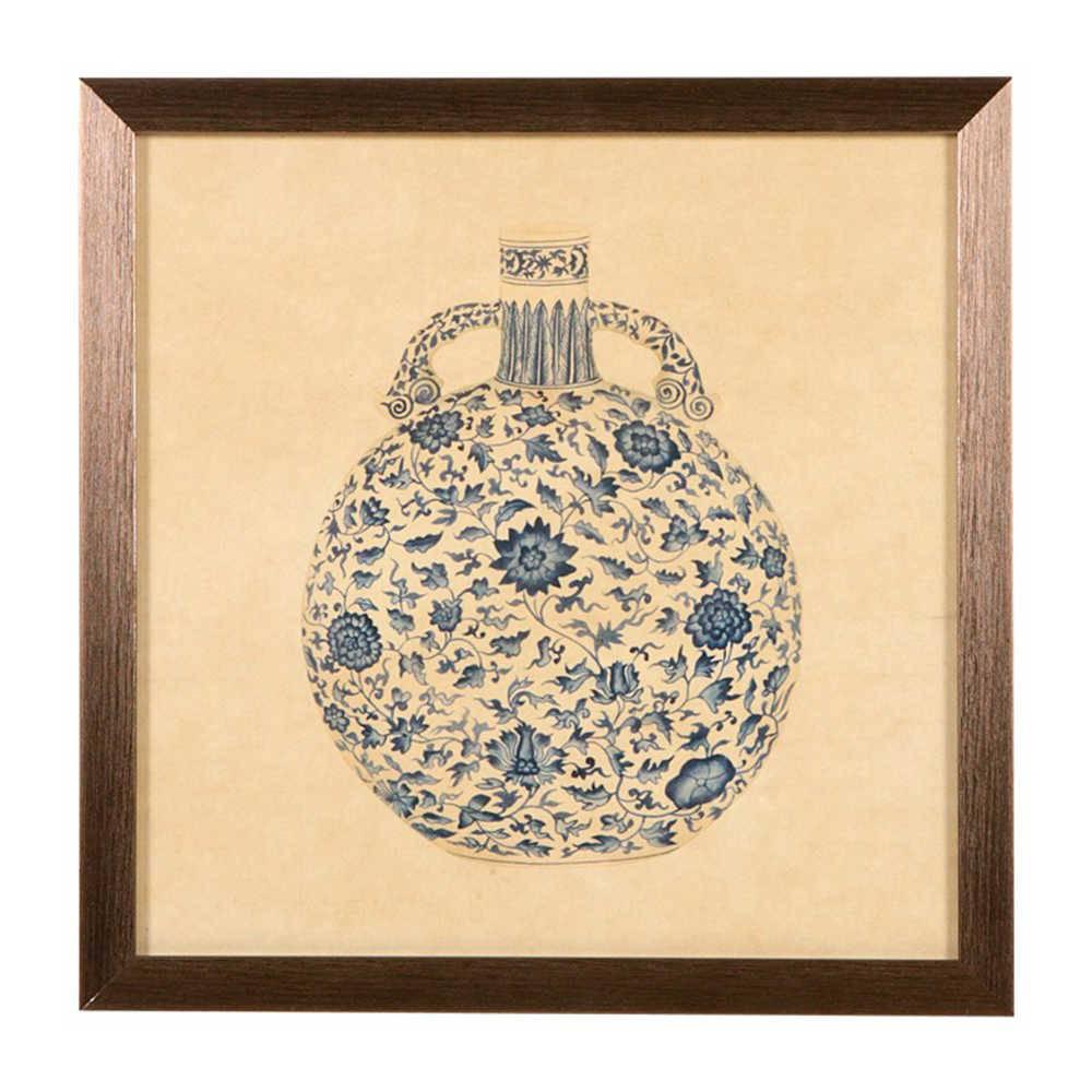 Quadro Vaso de Porcela Bola com Alças Azul e Bege em Madeira - 33x33 cm