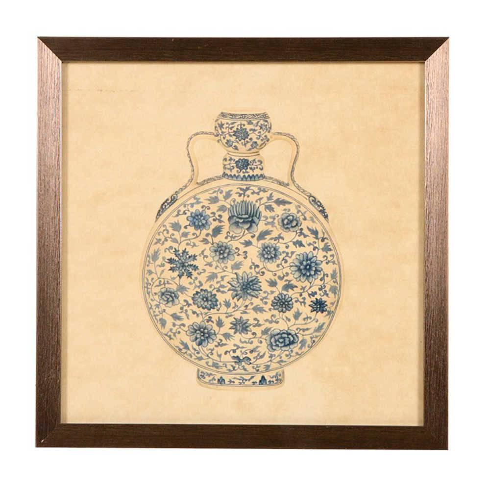 Quadro Vaso de Porcelana com Alças Azul e Bege em Madeira - 33x33 cm