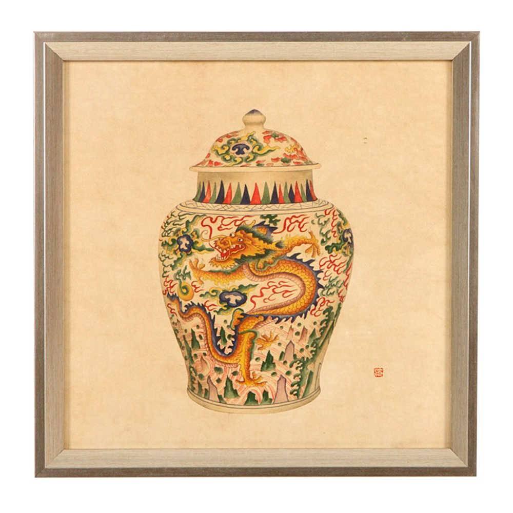 Quadro Vaso de Porcelana com Estampa de Dagrão em Madeira - 33x33 cm