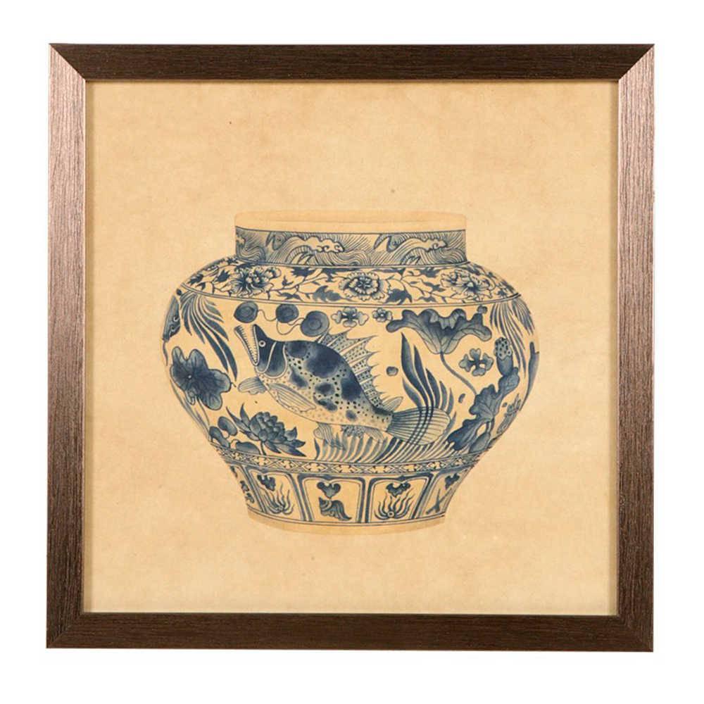 Quadro Vaso de Porcelana com Estampa de Peixe em Madeira - 33x33 cm