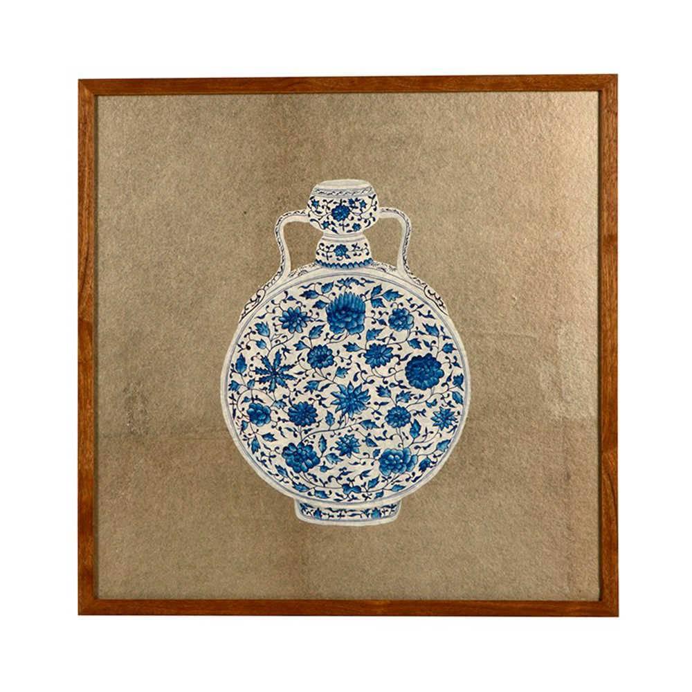 Quadro Vaso de Porcelana Flores Azul e Branco em Madeira - 51x50 cm