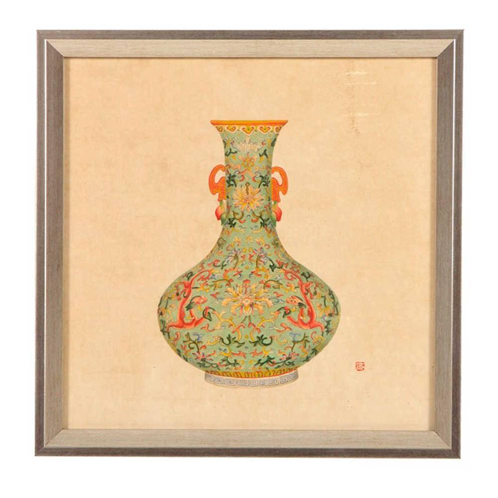 Quadro Vaso de Porcelana Verde Estampado em Madeira - 33x33 cm
