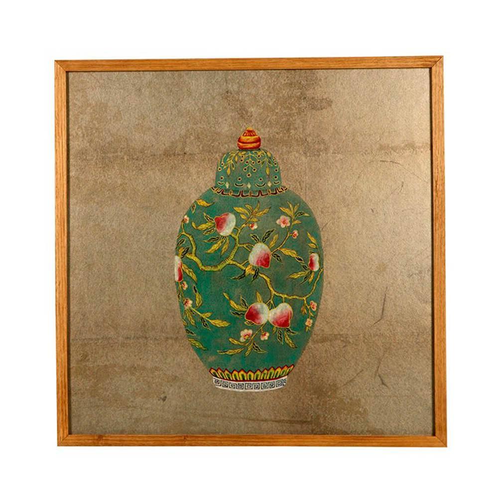 Quadro Vaso de Porcelana Verde em Madeira - 51x50 cm