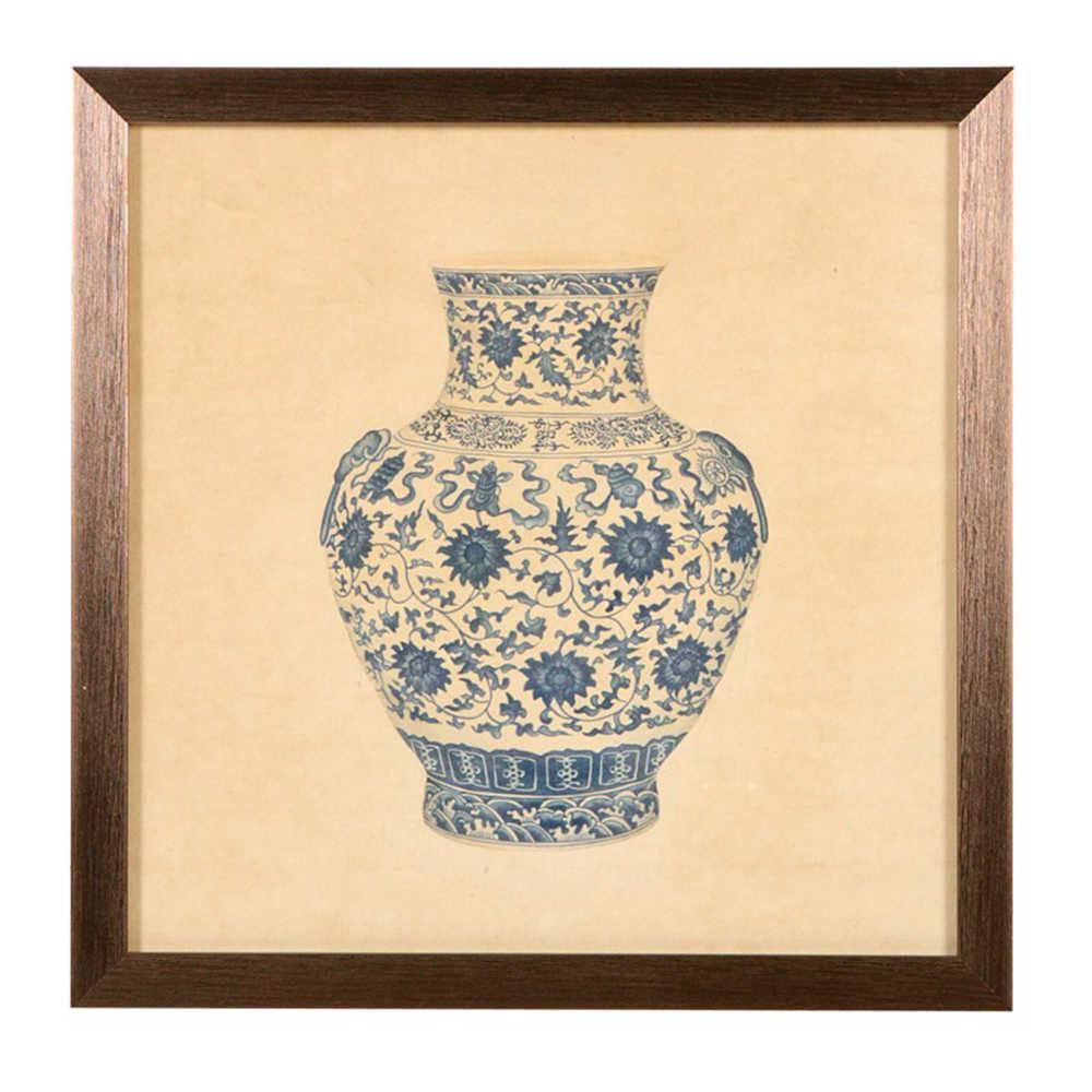 Quadro Vaso Redondo Grande de Porcelana Flores Azuis em Madeira - 33x33 cm
