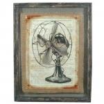 Quadro Ventilador Shabby Chic em Madeira - 71x56 cm