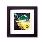 Quadro de Vidro Copo de Heineken com Moldura em Madeira - 20x20 cm