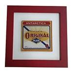 Quadro de Vidro Decorativo Antarctica Original Moldura em Madeira - 20x20cm