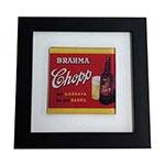 Quadro de Vidro Decorativo Brahma Chopp Garrafa Moldura em Madeira - 20x20cm
