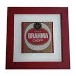 Quadro de Vidro Decorativo Brahma Chopp Rótulo Moldura em Madeira - 20x20cm