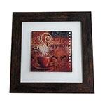 Quadro de Vidro Decorativo Cappucine Moldura em Madeira - 20x20cm